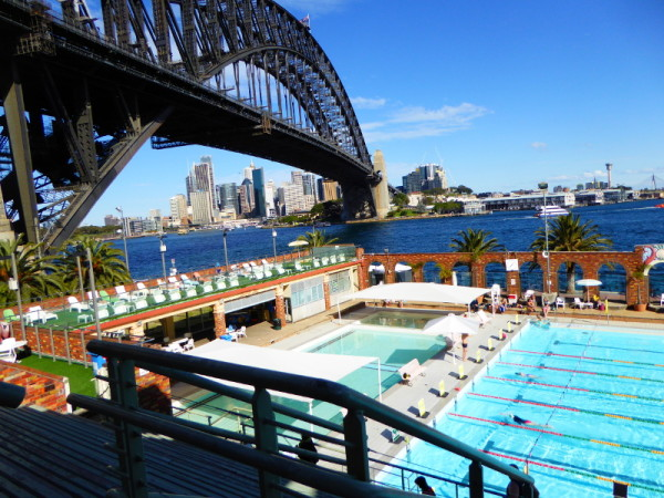 North Sydney Olympic Pool under Sydney Harbour Bridge